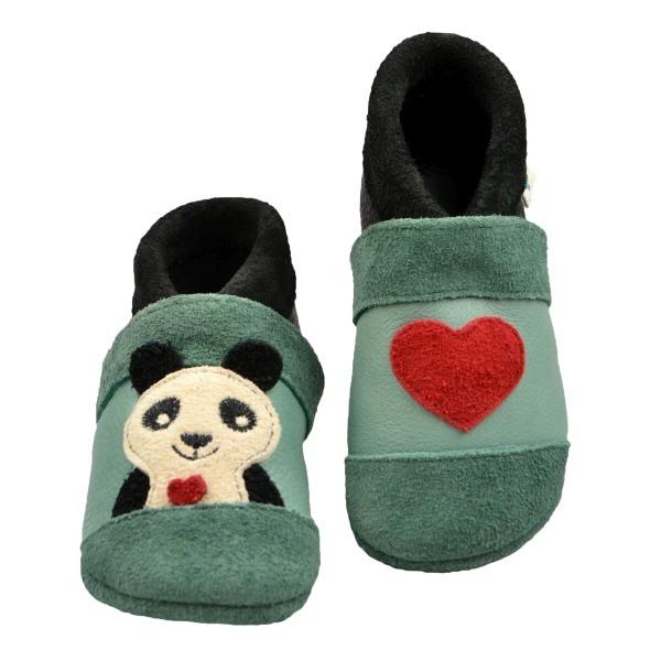 Pantolinos ~ Panda ~ grün/schwarz/weiß/rot