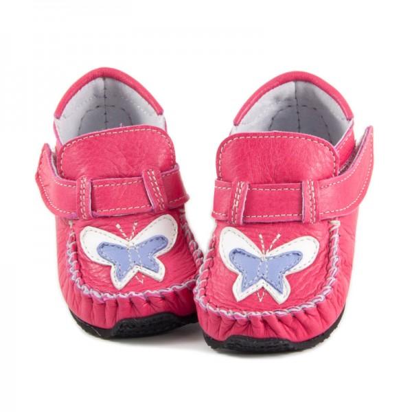 ZeaZoo ~ Mokassin Leo ~ pink mit Schmetterling