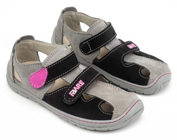 Fare Bare ~ Leder Sandale ~ grau/schwarz